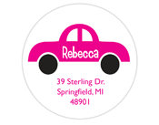 Car Pink Address Label